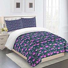 FTDUTR Duvet Cover Double 3 Pieces Purple animal
