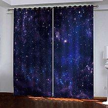 FTJDR 3D Blackout Curtains Blue Galaxy Window