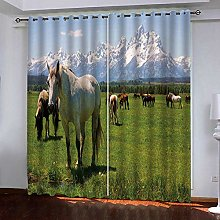FTJDR 3D Blackout Curtains Snow Mountain, Meadow,
