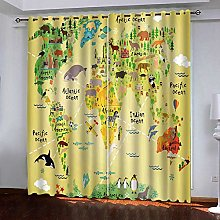 FTJDR Thermal Insulated Window Animal Map Kids
