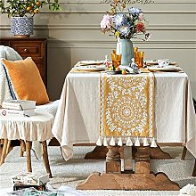 FTTH&YAG Fringed Wool Embroidered Table Runner,
