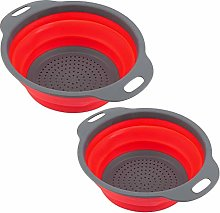 FTVOGUE 2pcs/ Set Collapsible Colanders Round