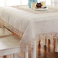FuHouse 110x110cm Beige Linen Cotton Table Cover