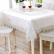 FuHouse 130x130cm Embroidered White Floral Table