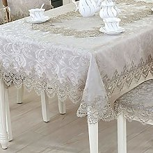 FuHouse 130x180cm Embroidered Grey Floral Table