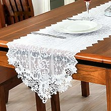FuHouse 40x120cm White Lace Embroidered Floral