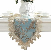 FuHouse 40x180cm Blue Table Runner Gold Lace