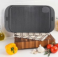 FUKEA Cast Iron Griddle Plate, BBQ Grill Pan