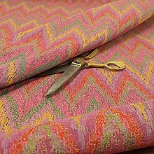 Full Chevron Striped Chenille Pink Green Red