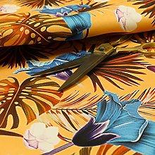 Full Orange Colour Jungle Leaf Floral Pattern