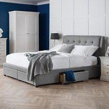 Fullerton Grey Fabric 4 Drawer Storage Bed Frame