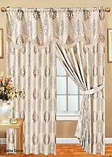 Fully Lined Pencil Pleat Malta Jacquard Curtains