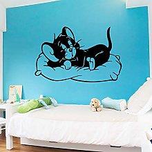 Fun Cartoon Cat Mouse Sticker Waterproof Vinyl