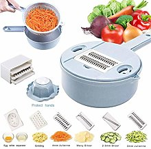 Function Food Slicer Adjustable Blue Round Grater