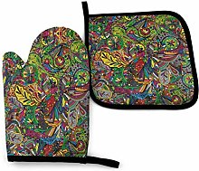 Funky Curly Doodles Oven Mitts and Pot Holders