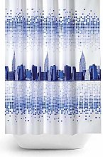 Funky Fabric Shower Curtain Extra Long With City