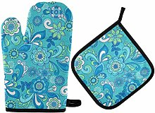 Funky Flowers Seamless Oven Mitts & Pot Holders