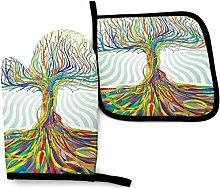 Funky Tree Oven Mitt and Pot Holder Heat Resistant