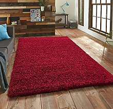 FunkyBuys® Branded WINE RED Shaggy Rugs Large