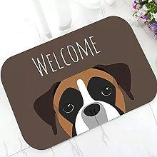 Funny Boxer Dog Portrait Welcome Doormat Rug