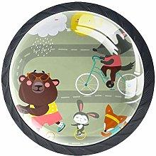Funny Cartoon Fox Bear Rabbit with Bicycle Cabinet