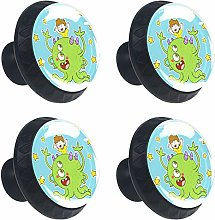 Funny Cartoon Kids with Monster Stars Round Drawer