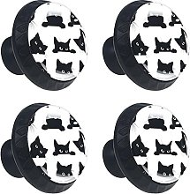 Funny Cat 4PCS Cabinet Knobs, Round Drawer Knobs,