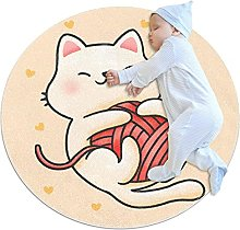 Funny Cat Playing With Yarn, Pattern Baby Crawling