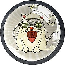 Funny Cats with Crown Cabinet Pulls Glass 4 Pack