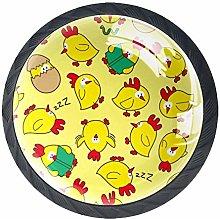 Funny Chicken Pattern Dresser Knobs Crystal Glass