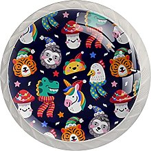 Funny Christmas Animals 4 Pack Crystal Cabinet