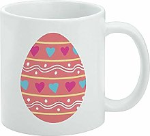 Funny Coffee Mug, Cute Easter Egg Pink with Hearts