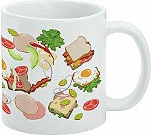 Funny Coffee Mug, Messy Sandwich Pattern Bread
