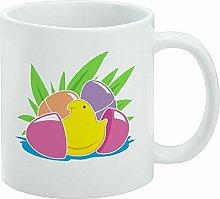 Funny Coffee Mug, Peeps Hatching Out of Plastic