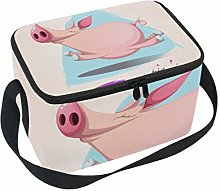 Funny Cute Crazy Pig Lunch Box Insulated Lunch Bag