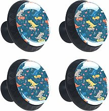Funny Dinosaur with Skateboard Music 4PCS Round