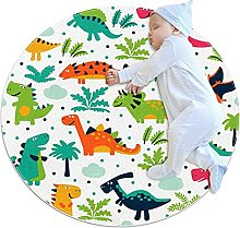 Funny dinosaurs, Printed Round Rug for Kids Family