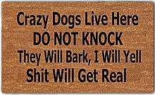 Funny Doormat Crazy Dogs Live Here Do Not Knock