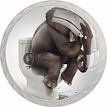 Funny Elephant Sitting On The Toilet Drawer knobs