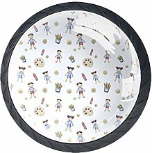 Funny Kids 4 PCS Crystal Clear Glass Cabinet Round