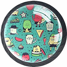 Funny Monsters Solid Kitchen Cabinet Knobs Round