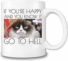 Funny Mugs Grumpy Cat Meme Coffee Mug †Happy