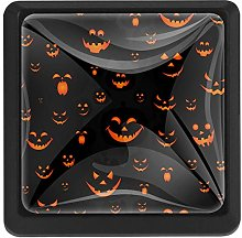 Funny Pumpkin Scary Face Square Cabinet Knobs
