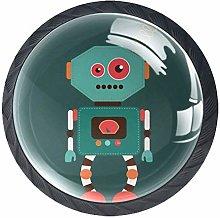 Funny Retro Cartoon Robot Cabinet Door Knobs