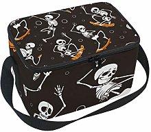Funny Skull Skateboard Insulated Lunch Box Bag