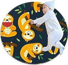 Funny sloths, Printed Round Rug for Kids Family