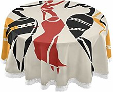 funnyy African Dancers Women Round Tablecloth