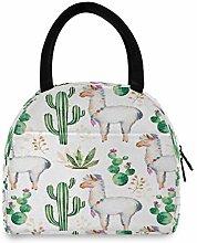 funnyy Alpaca Llama Cactus Lunch Bag for Women