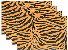 funnyy Animal Tiger Print Placemats Set of 6 Table