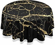 funnyy Black Gold Glitter Marble Round Tablecloth